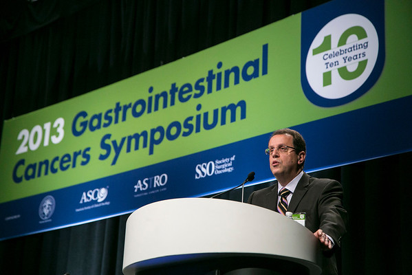 San Francisco, CA - 2013 Gastrointestinal Cancers Symposium - San Francisco, CA: Mitchell Posner, MD  discusses Cancers of the Esophagus and Stomach: A Decade in Review during the General Session I:  at the Gastrointestinal Cancers Symposium 2013 here today, Thursday January 24, 2013. The Symposium is supported by ASCO, the American Society of Clinical Oncology, ASTRO, The American Society of Radiation Oncology, SSO, Society of Surgical Oncology and the AGA Institute. Over 3,000 physicians, researchers and allied healthcare professionals are attending the meeting which is being held at the Moscone West center in San Francisco and features the latest Gastrointestinal Cancers research in the areas of basic and clinical science.  Date: Thursday January 24, 2013.  Photo by © ASCO/Todd Buchanan 2013 Technical Questions: todd@medmeetingimages.com; Phone: 612-226-5154.