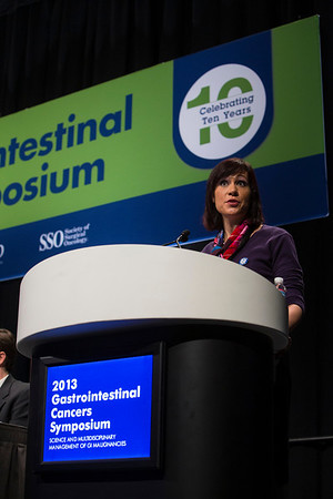 San Francisco, CA - 2013 Gastrointestinal Cancers Symposium - San Francisco, CA: Johanna C. Bendell MD  Discussant during the Oral Abstract Session: Cancers of the Esophagus and Stomach (eQ&A) at the Gastrointestinal Cancers Symposium 2013 here today, Thursday January 24, 2013. The Symposium is supported by ASCO, the American Society of Clinical Oncology, ASTRO, The American Society of Radiation Oncology, SSO, Society of Surgical Oncology and the AGA Institute. Over 3,000 physicians, researchers and allied healthcare professionals are attending the meeting which is being held at the Moscone West center in San Francisco and features the latest Gastrointestinal Cancers research in the areas of basic and clinical science.  Date: Thursday January 24, 2013.  Photo by © ASCO/Todd Buchanan 2013 Technical Questions: todd@medmeetingimages.com; Phone: 612-226-5154.