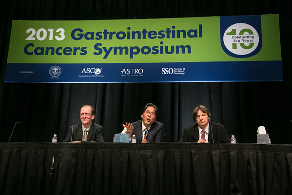 San Francisco, CA - 2013 Gastrointestinal Cancers Symposium - San Francisco, CA: Woo Jin Hyung, MD discusses Abstract 8: Long-term oncologic outcomes of robotic gastrectomy for gastric cancer compared with laparoscopic gastrectomy. during the Oral Abstract Session: Cancers of the Esophagus and Stomach at the Gastrointestinal Cancers Symposium 2013 here today, Thursday January 24, 2013. The Symposium is supported by ASCO, the American Society of Clinical Oncology, ASTRO, The American Society of Radiation Oncology, SSO, Society of Surgical Oncology and the AGA Institute. Over 3,000 physicians, researchers and allied healthcare professionals are attending the meeting which is being held at the Moscone West center in San Francisco and features the latest Gastrointestinal Cancers research in the areas of basic and clinical science.  Date: Thursday January 24, 2013.  Photo by © ASCO/Todd Buchanan 2013 Technical Questions: todd@medmeetingimages.com; Phone: 612-226-5154.