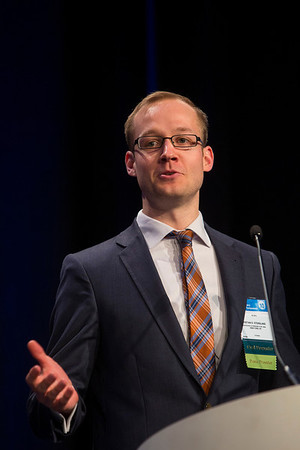 """San Francisco, CA -GU Cancers Symposium 2014: Kristian D. Stensland discusses Absract #288 """"Premature termination of genitourinary cancer clinical trials"""" during the Oral Abstract Session B: Urothelial Carcinoma, and Penile, Urethral, and Testicular Cancers at the 2014 Genitourinary Cancers Symposium here today, Friday January 31, 2014. Over 3,100 physicians, researchers, patient advocates and healthcare professionals from over 50 countries attended the meeting which features the latest research on genitourinary cancer treatment and prevention. Photo by © ASCO/Todd Buchanan 2014 Technical Questions: todd@medmeetingimages.com"""