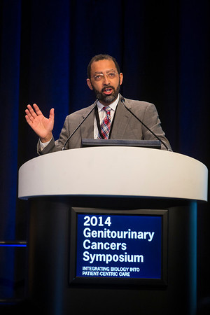 "San Francisco, CA -GU Cancers Symposium 2014: Levi A. Garraway, MD, PhD gives the keynote lecture ""Evolution of Prostate Cancer Genomes"" at the 2014 Genitourinary Cancers Symposium here today, Friday January 31, 2014. Over 3,100 physicians, researchers, patient advocates and healthcare professionals from over 50 countries attended the meeting which features the latest research on genitourinary cancer treatment and prevention. Photo by © ASCO/Todd Buchanan 2014 Technical Questions: todd@medmeetingimages.com"