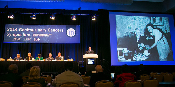 San Francisco, CA -GU Cancers Symposium 2014: John Arthur Taylor, MD, MS introduces General Session 5: Advances in Therapy for Urothelial Carcinoma at the 2014 Genitourinary Cancers Symposium here today, Friday January 31, 2014. Over 3,100 physicians, researchers, patient advocates and healthcare professionals from over 50 countries attended the meeting which features the latest research on genitourinary cancer treatment and prevention. Photo by © ASCO/Todd Buchanan 2014 Technical Questions: todd@medmeetingimages.com