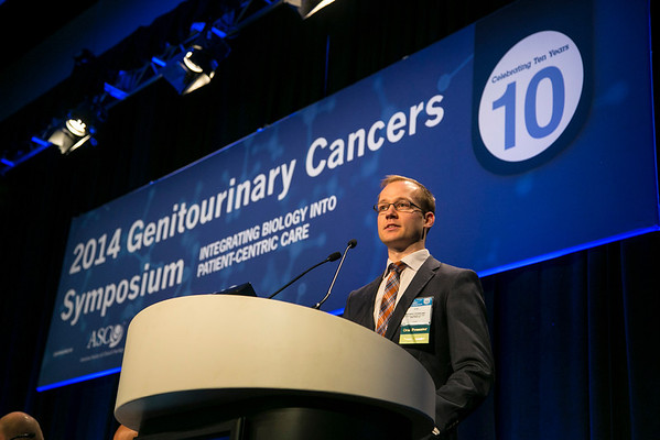 "San Francisco, CA -GU Cancers Symposium 2014: Kristian D. Stensland discusses Absract #288 ""Premature termination of genitourinary cancer clinical trials"" during the Oral Abstract Session B: Urothelial Carcinoma, and Penile, Urethral, and Testicular Cancers at the 2014 Genitourinary Cancers Symposium here today, Friday January 31, 2014. Over 3,100 physicians, researchers, patient advocates and healthcare professionals from over 50 countries attended the meeting which features the latest research on genitourinary cancer treatment and prevention. Photo by © ASCO/Todd Buchanan 2014 Technical Questions: todd@medmeetingimages.com"