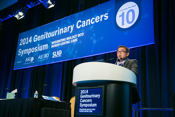 San Francisco, CA -GU Cancers Symposium 2014: Primo Lara, MD, right, and Dr. Chin gives the Decade in Review: Renal Cancer lecture  at the 2014 Genitourinary Cancers Symposium here today, Saturday February 1, 2014. Over 3,100 physicians, researchers, patient advocates and healthcare professionals from over 50 countries attended the meeting which features the latest research on genitourinary cancer treatment and prevention. Photo by © ASCO/Todd Buchanan 2014 Technical Questions: todd@medmeetingimages.com