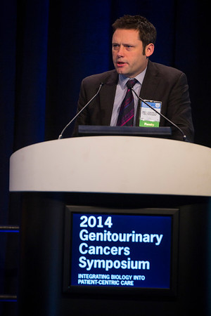 "San Francisco, CA -GU Cancers Symposium 2014: James M. G. Larkin, MD, PhD discusses ""Intratumoral Heterogeneity and Branched Evolution: Implications and Future Directions"" during General Session 7: Clinical and Genetic Heterogeneity in Renal Cell Carcinoma at the 2014 Genitourinary Cancers Symposium here today, Saturday February 1, 2014. Over 3,100 physicians, researchers, patient advocates and healthcare professionals from over 50 countries attended the meeting which features the latest research on genitourinary cancer treatment and prevention. Photo by © ASCO/Todd Buchanan 2014 Technical Questions: todd@medmeetingimages.com"