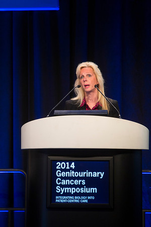 San Francisco, CA -GU Cancers Symposium 2014: Deborah A. Kuban, MD speaks at the A Decade in Review: Prostate Cancer  at the 2014 Genitourinary Cancers Symposium here today, Thursday January 30, 2014. Over 3,100 physicians, researchers, patient advocates and healthcare professionals from over 50 countries attended the meeting which features the latest research on genitourinary cancer treatment and prevention. Photo by © ASCO/Todd Buchanan 2014 Technical Questions: todd@medmeetingimages.com