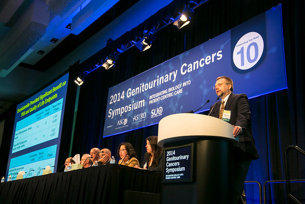 """San Francisco, CA -GU Cancers Symposium 2014: Tomasz M. Beer, MD discusses abstract LBA #1 """"Enzalutamide in men with chemotherapy-naive metastatic prostate cancer (mCRPC): Results of phase III PREVAIL study"""" during General Session 1: Integrating Androgen Axis Therapy Across the Disease Spectrum at the 2014 Genitourinary Cancers Symposium here today, Thursday January 30, 2014. Over 3,100 physicians, researchers, patient advocates and healthcare professionals from over 50 countries attended the meeting which features the latest research on genitourinary cancer treatment and prevention. Photo by © ASCO/Todd Buchanan 2014 Technical Questions: todd@medmeetingimages.com"""