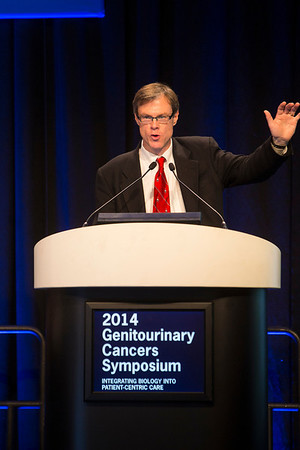 "San Francisco, CA -GU Cancers Symposium 2014: Charles G. Drake, MD, PhD discusses abstract #2 ""Results of subset analyses on overall survival (OS) from study CA184-043: Ipilimumab (Ipi) versus placebo (Pbo) in post-docetaxel metastatic castration-resistant prostate cancer (mCRPC)"" during the General Session 2: Prostate Cancer—Current Role of Immunotherapy in the Clinic at the 2014 Genitourinary Cancers Symposium here today, Thursday January 30, 2014. Over 3,100 physicians, researchers, patient advocates and healthcare professionals from over 50 countries attended the meeting which features the latest research on genitourinary cancer treatment and prevention. Photo by © ASCO/Todd Buchanan 2014 Technical Questions: todd@medmeetingimages.com"