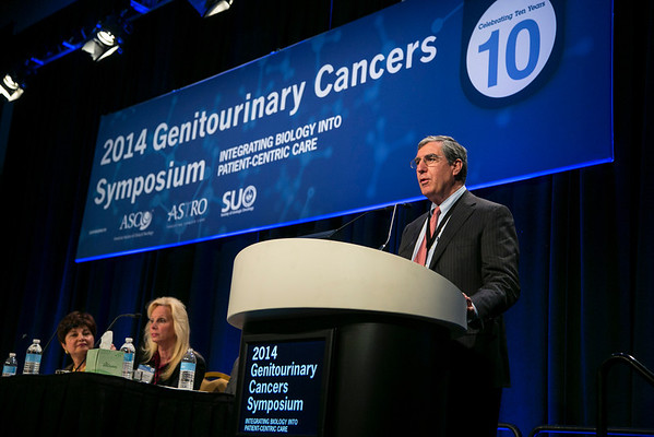 San Francisco, CA -GU Cancers Symposium 2014: Peter T. Scardino, MD speaks at the A Decade in Review: Prostate Cancer  at the 2014 Genitourinary Cancers Symposium here today, Thursday January 30, 2014. Over 3,100 physicians, researchers, patient advocates and healthcare professionals from over 50 countries attended the meeting which features the latest research on genitourinary cancer treatment and prevention. Photo by © ASCO/Todd Buchanan 2014 Technical Questions: todd@medmeetingimages.com