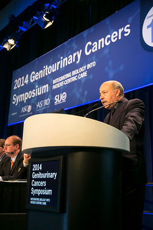 "San Francisco, CA -GU Cancers Symposium 2014: Abdenour Nabid, MD, FRCP(C), Associate Professor discusses abstract #5 ""Long-term quality of life in high-risk prostate cancer: Results of a phase III randomized trial"" during the Oral Abstract Session A: Prostate Cancer at the 2014 Genitourinary Cancers Symposium here today, Thursday January 30, 2014. Over 3,100 physicians, researchers, patient advocates and healthcare professionals from over 50 countries attended the meeting which features the latest research on genitourinary cancer treatment and prevention. Photo by © ASCO/Todd Buchanan 2014 Technical Questions: todd@medmeetingimages.com"
