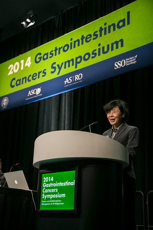 "San Francisco, CA -GI Cancers Symposium 2014: Chuanlian Chu, MD discusses Abstract #1 titled ""Does performing en bloc versus piecemeal mucosal resections affect outcomes in patients with intramucosal adenocarcinoma?"" during General Session 1: Barrett's Esophagus, Genetics, and Management at the 2014 Gastrointestinal Cancers Symposium here today, Thursday January 16, 2014. Over 3,300 physicians, researchers, patient advocates and healthcare professionals from over 50 countries attended the meeting which features the latest research on gastrointestinal cancer treatment and prevention. Photo by © ASCO/Todd Buchanan 2014 Technical Questions: todd@medmeetingimages.com"