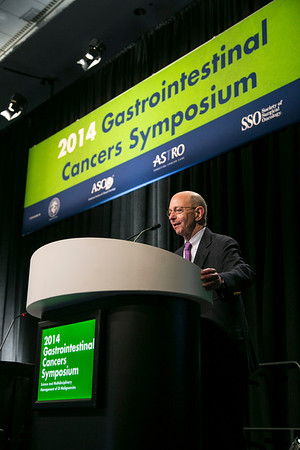 "San Francisco, CA -GI Cancers Symposium 2014: Charles Lightdale, MD gives the Thursday Keynote lecture titled ""Evolution of Endoscopy in Esophageal Cancer: From Detection to Staging to Therapy"" at the 2014 Gastrointestinal Cancers Symposium here today, Thursday January 16, 2014. Over 3,300 physicians, researchers, patient advocates and healthcare professionals from over 50 countries attended the meeting which features the latest research on gastrointestinal cancer treatment and prevention. Photo by © ASCO/Todd Buchanan 2014 Technical Questions: todd@medmeetingimages.com"