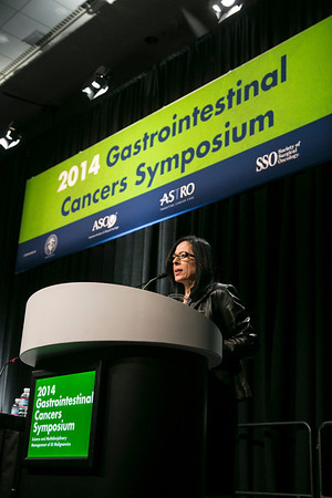 San Francisco, CA -GI Cancers Symposium 2014: Elizabeth M. Jaffee, MD delivers the Keynote Lecture: Immunologic Treatments for Gastrointestinal Cancers—Current Status and Future Strategies at the 2014 Gastrointestinal Cancers Symposium here today, Friday January 17, 2014. Over 3,300 physicians, researchers, patient advocates and healthcare professionals from over 50 countries attended the meeting which features the latest research on gastrointestinal cancer treatment and prevention. Photo by © ASCO/Todd Buchanan 2014 Technical Questions: todd@medmeetingimages.com
