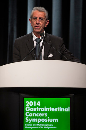"""San Francisco, CA -GI Cancers Symposium 2014: David Goldstein, MD discusses Abstract #178 titled """"Updated survival from a randomized phase III trial (MPACT) of nab-paclitaxel plus gemcitabine versus gemcitabine alone for patients (pts) with metastatic adenocarcinoma of the pancreas"""" during the Oral Abstract Session: Cancers of the Pancreas, Small Bowel, and Hepatobiliary Tract at the 2014 Gastrointestinal Cancers Symposium here today, Friday January 17, 2014. Over 3,300 physicians, researchers, patient advocates and healthcare professionals from over 50 countries attended the meeting which features the latest research on gastrointestinal cancer treatment and prevention. Photo by © ASCO/Todd Buchanan 2014 Technical Questions: todd@medmeetingimages.com"""