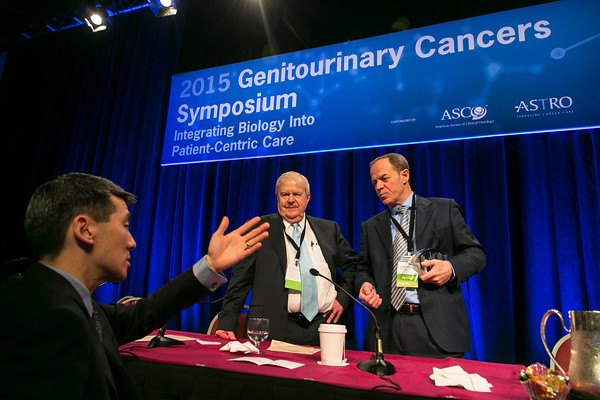 Keynote speaker Joaquim Bellmunt, MD, PhD, right, and Harry W. Herr, MD, left, chat