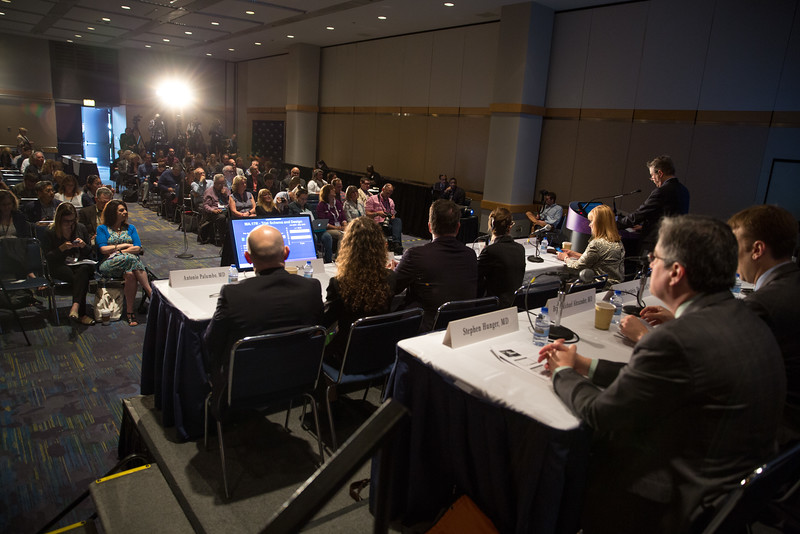 Paul Edward Goss, MD, PhD, speaks during Plenary Press Briefing