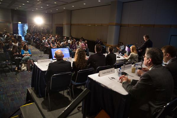 Paul Edward Goss, MD, PhD, speaks during Plenary Press Briefing