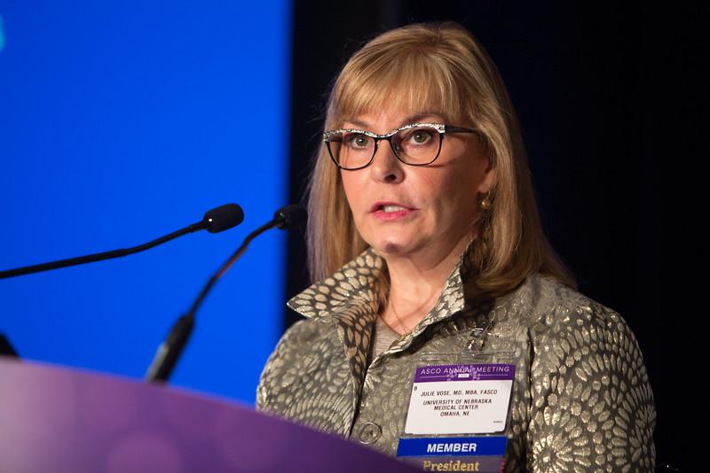 Julie Vose, MD, MBA, FASCO, speaks during Plenary Press Briefing