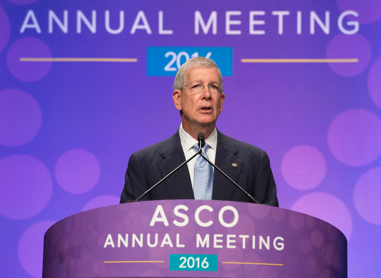 ASCO CEO Allen S. Lichter, MD, FASCO, introducing ASCO President, Julie M. Vose, MD, MBA, FASCO, during Opening Session