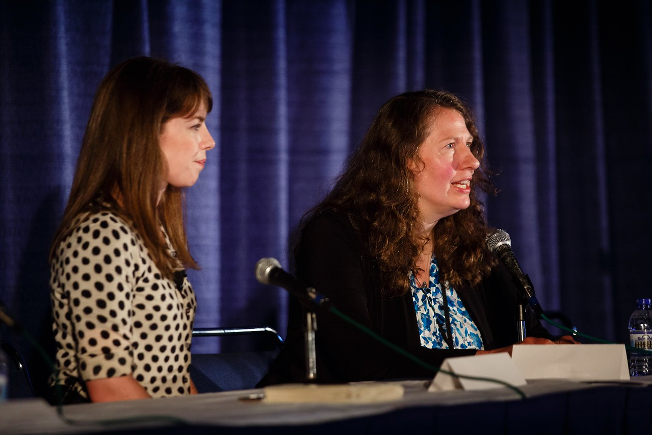 Teresa Gilewski, MD, and Lucy Kalanithi, MD, during ASCO Book Club Session