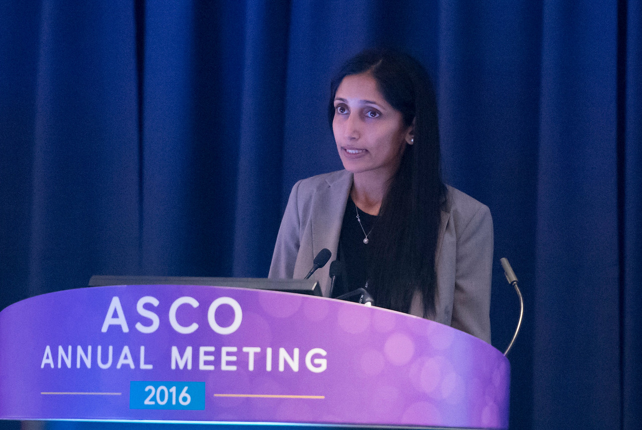 Neeta Somaiah, MD, speaks during The Role of Chemotherapy in the Neoadjuvant, Adjuvant, and Metastatic Setting for Patients With Soft Tissue Sarcoma: Where Do We Stand in 2016?