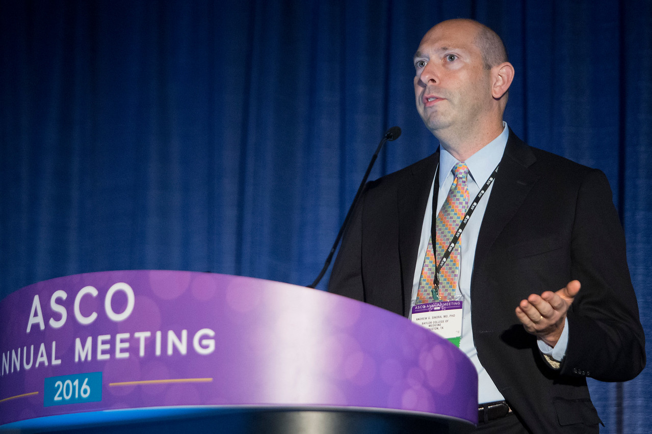 Andrew Gregory Sikora, MD, PhD, MBChB, MRCP, speaks during Integrating Immune Checkpoint Inhibitors and Targeted Agents With Surgery and Radiotherapy for Patients With Head and Neck Cancer