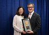 Peter Yu, MD, FACP, FASCO, presenting the Pediatric Oncology Award to Susan Cohn, MD, during Pediatric Oncology Award and Lecture