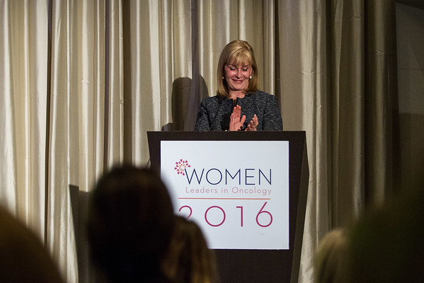 Julie M. Vose, MD, MBA, ASCO President, introducing Sarah Donaldson, MD, recipient of the 2016 Women Who Conquer Cancer Mentorship Award during Women Leaders in Oncology Event