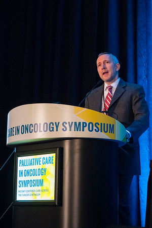 "Joseph Greer, PhD, Massachusetts General Hospital, presenting Abstract #104, ""Randomized trial of early integrated palliative and oncology care,"" during Oral Abstract Session A"