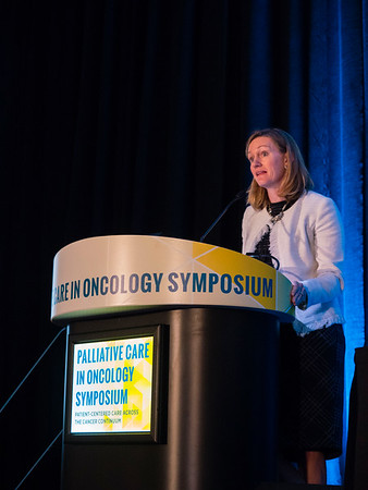 "Erin Kent, PhD, National Cancer Institute, presenting Abstract #4, ""Cancer versus non-cancer caregivers: An analysis of communication needs from the 2015 Caregivers in the U.S. study,"" during Oral Abstract Session A"