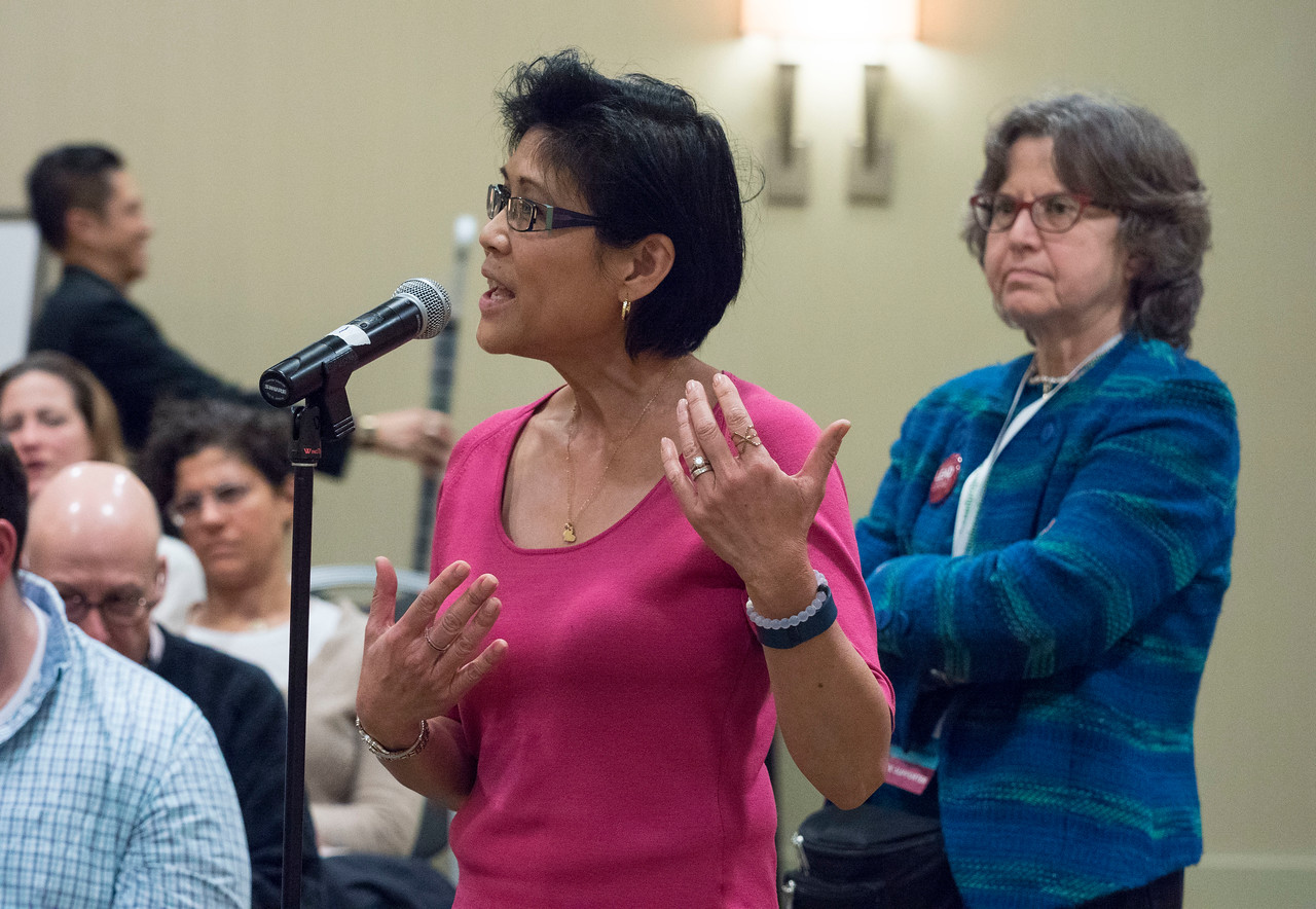 Attendees ask questions  - An Evening for Cancer Survivors and Caregivers