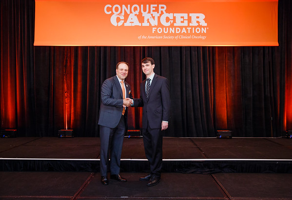 2017 Young Investigator Award Recipient Nicholas DeVito, MD with Thomas G. Roberts, Jr., MD, Chair of the Conquer Cancer Foundation Board of Directors, during 2017 Grants & Awards Ceremony and Reception