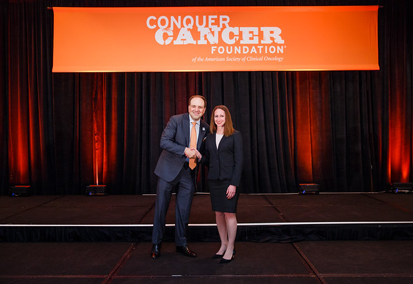 2017 Career Development Award Recipient Jaime Libes, MD, MPH with Thomas G. Roberts, Jr., MD, Chair of the Conquer Cancer Foundation Board of Directors, during 2017 Grants & Awards Ceremony and Reception