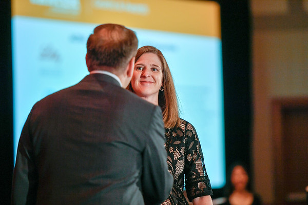 2017 YIA Recipient Jennifer Veneris, MD, PhD with Thomas G. Roberts, Jr., MD, Chair of the Conquer Cancer Foundation Board of Directors, during 2017 Grants & Awards Ceremony and Reception