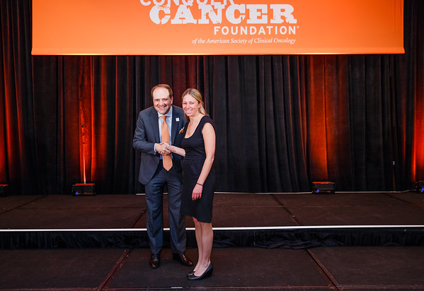 2017 Young Investigator Award Recipient Alexandra Miller, MD, PhD  with Thomas G. Roberts, Jr., MD, Chair of the Conquer Cancer Foundation Board of Directors, during 2017 Grants & Awards Ceremony and Reception
