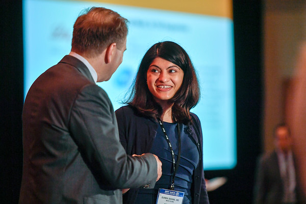 2017 YIA Recipient Surbhi Sidana, MD with Thomas G. Roberts, Jr., MD, Chair of the Conquer Cancer Foundation Board of Directors, during 2017 Grants & Awards Ceremony and Reception