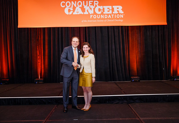 2017 Young Investigator Award Recipient Claire Friedman, MD with Thomas G. Roberts, Jr., MD, Chair of the Conquer Cancer Foundation Board of Directors, during 2017 Grants & Awards Ceremony and Reception
