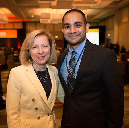 Robin Zon, MD, FACP, FASCO with Rajarsi Mandal, MD, during 2017 Grants & Awards Ceremony and Reception