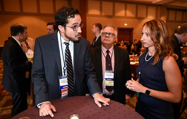 Kidney Cancer Association YIA Recipient Pavlos Msaouel, MD, PhD, with KCA President and CEO Carrie Konosky  during the 2017 Grants & Awards Ceremony and Reception