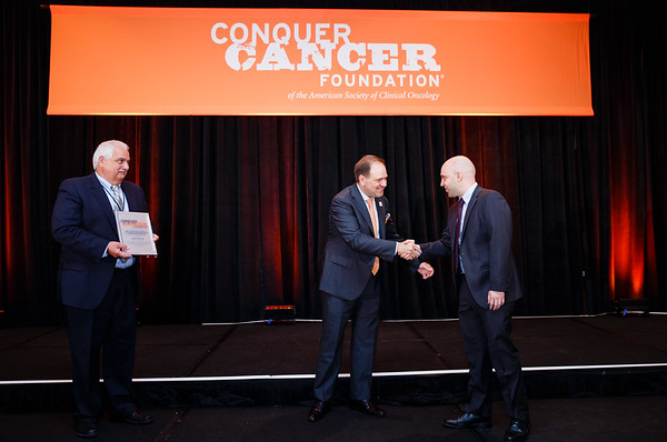 2017  Young Investigator Award Recipient Nicholas Short, MD with Robert Bellucci of Celgene and Thomas G. Roberts, Jr., MD, Chair of the Conquer Cancer Foundation Board of Directors, during 2017 Grants & Awards Ceremony and Reception