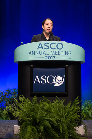 Allison W. Kurian, MD, MSc, speaks during Plenary Session Including the Science of Oncology Award and Lecture