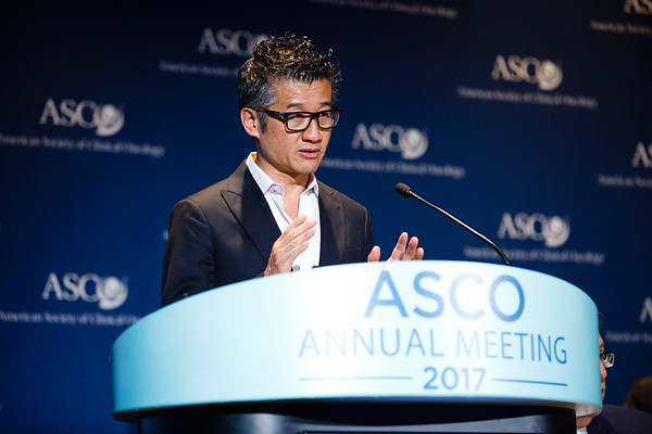 Tony Mok, MD, Chinese University of Hong Kong, presenting Abstract LBA9007, Dacomitinib versus gefitinib for the first-line treatment of advanced EGFR mutation positive non-small cell lung cancer (ARCHER 1050): A randomized, open-label phase 3 trial, during Monday Press Briefing