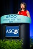 Cathy Eng, MD, FACP, discussing Abstract LBA1 during Plenary Session