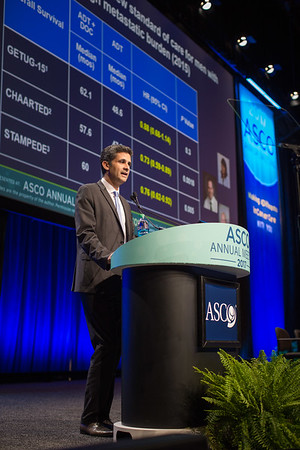 Karim Fizazi, MD, PhD, Gustave Roussy Cancer Campus and University Paris-Sud, presenting Abstract LBA3, LATITUDE: A phase 3 double-blind, randomized trial of androgen deprivation therapy (ADT) with abiraterone acetate (AA) plus prednisone (P) or placebos (PBOs) in newly diagnosed high-risk metastatic hormone-na?ve prostate cancer (mHNPC) patients (pts), during Plenary Session