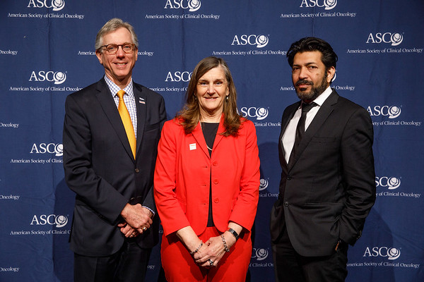 Daniel F. Hayes, MD, FACP, FASCO, ASCO President,, and Nancy Daly, MS, MPH, with Guest Speaker Siddhartha Mukherjee, MD, DPhil during Opening Session