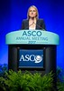 Monika Krzyzanowska, MD, MPH, FRCPC, discussing Abstract LBA2 during Plenary Session