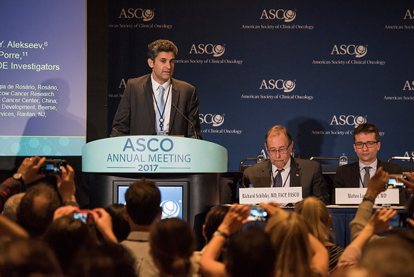 Karim Fizazi, MD, PhD, Gustave Roussy Cancer Campus and University Paris-Sud, presenting Abstract LBA3, LATITUDE: A phase 3 double-blind, randomized trial of androgen deprivation therapy (ADT) with abiraterone acetate (AA) plus prednisone (P) or placebos (PBOs) in newly diagnosed high-risk metastatic hormone-na?ve prostate cancer (mHNPC) patients (pts), during Saturday Press Briefing