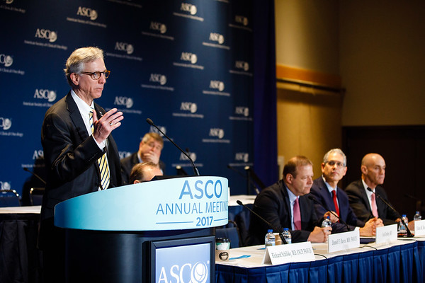 Daniel F. Hayes, MD, FASCO, speaks during Plenary Press Briefing