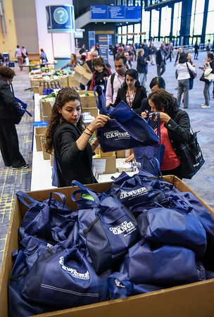 Attendees fill Comfort Kits for patients with cancer at Chicago-area hospitals during Community Service Project