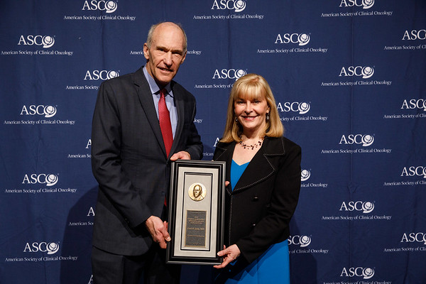 Julie Vose, MD, MBA, FASCO, with David A. Karnofsky Memorial Award recipient Carl H. June, MD, during Opening Session
